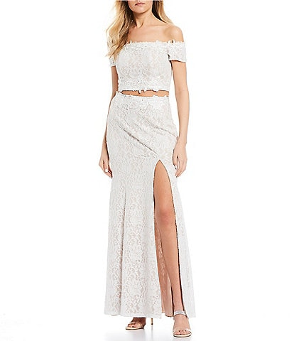Sequin Hearts Off-The-Shoulder Side Slit Glitter Lace Two-Piece Long Dress