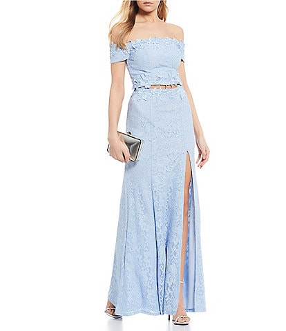 Sequin Hearts Off-The-Shoulder Glitter Lace Two-Piece Long Dress