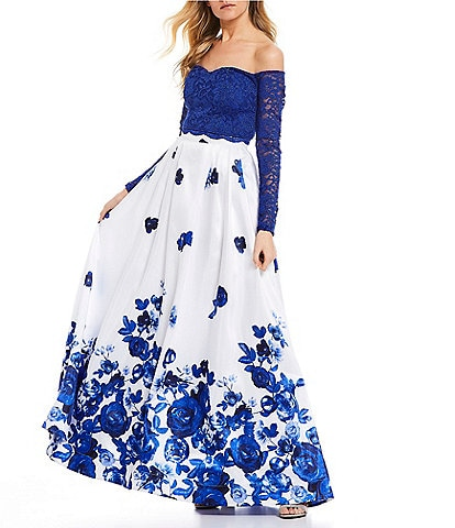 Sequin Hearts Off-The-Shoulder Lace with Floral Print Skirt Two-Piece Long Dress