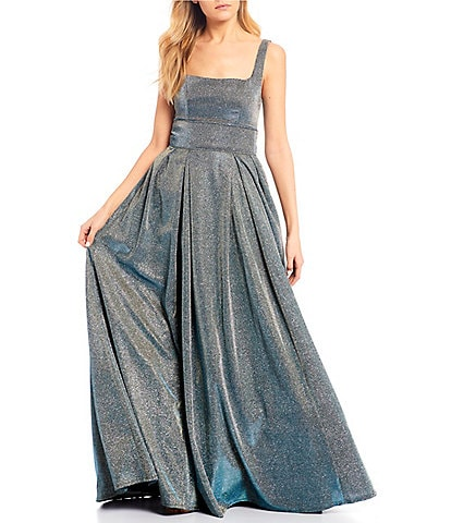 Sequin Hearts Sleeveless Square-Neck Iridescent Shine Ball Gown
