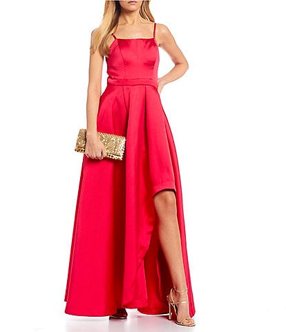 Sequin Hearts Spaghetti Strap High-Low Side Slit Long Satin Dress