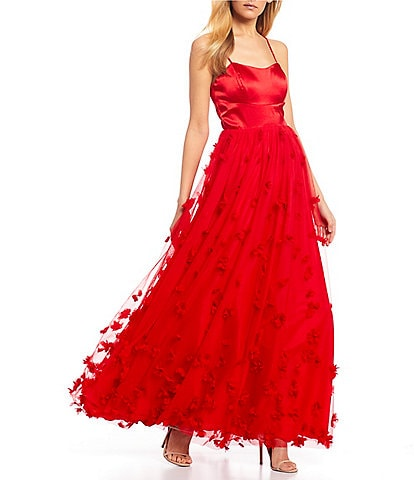 Sequin Hearts Spaghetti Strap Lace-Up Back Satin 3D Floral Ball Gown