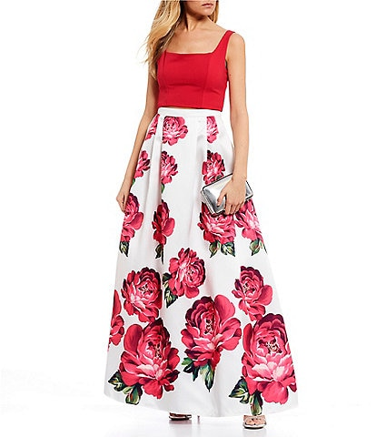 Sequin Hearts Square Neck Top with Floral Print Skirt Two-Piece Ball Gown