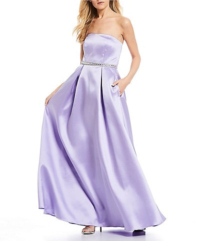 Sequin Hearts Strapless Beaded-Belt Ball Gown