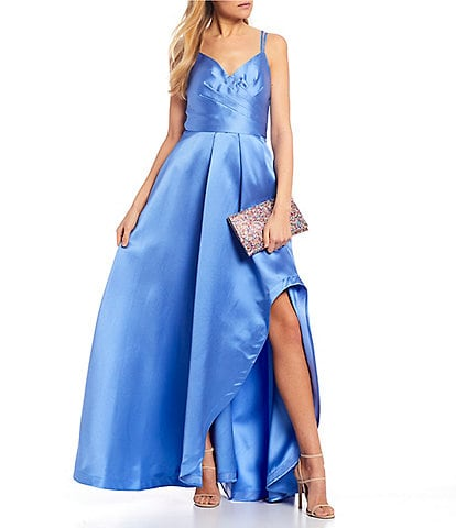 Sequin Hearts Surplice Satin Bodice High-Low Side Slit Long Dress