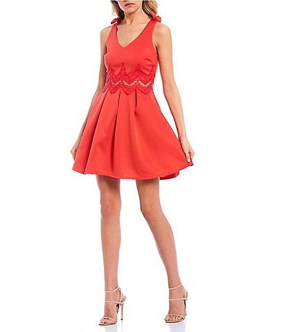 Sequin Hearts Tie-Shoulder Lace Illusion Waist Fit-and-Flare Dress