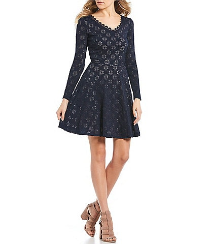 Sequin Hearts V-Neck Lace Fit-and-Flare Dress