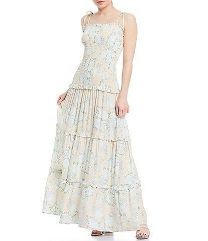 Shabby Chic Blythe Smocked Floral Sleeveless Drop Waist Tiered Maxi Dress