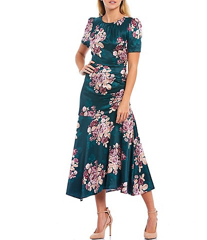 Shabby Chic Bronte Silk Floral Print Short Sleeve Asymmetrical Hem Midi Dress