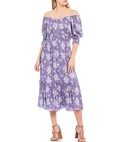Shabby Chic Descanso Floral Print Ruffle V-Neck Smocked Short Sleeve Midi Dress
