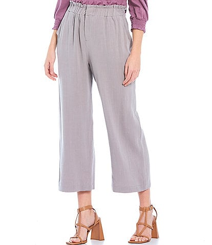 Shabby Chic Emmett Crosshatch Paperbag Wide Leg Cropped Pants