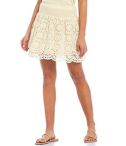 Shabby Chic Eyelet Ruffle Coordinating Smocked Waist Mini Skirt