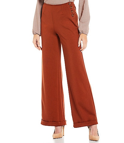 Shabby Chic James Fitted Waist Ponte Knit Wide Leg Pants