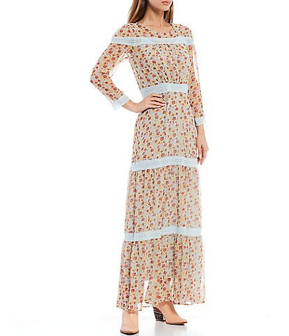 Shabby Chic Hawthorne Garden Print Lace Taping Trim 3/4 Sleeve Tiered Maxi Dress