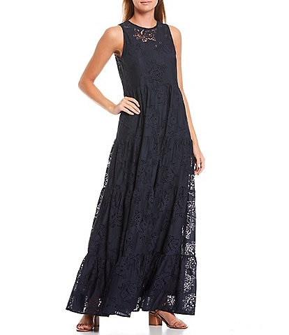 Shabby Chic Ingram Textured Woven Lace Heirloom Tiered Sleeveless Maxi Dress