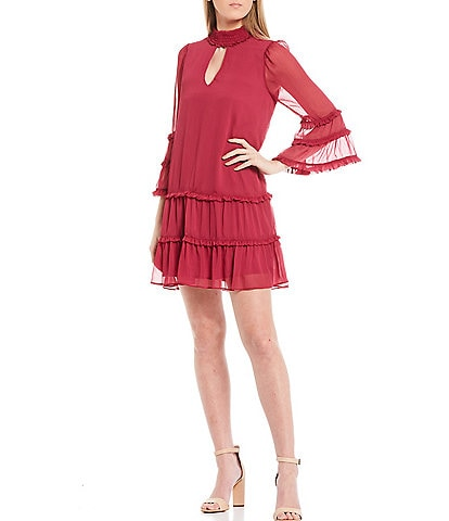 Shabby Chic Lilith Pleated Bell Sleeve Dress