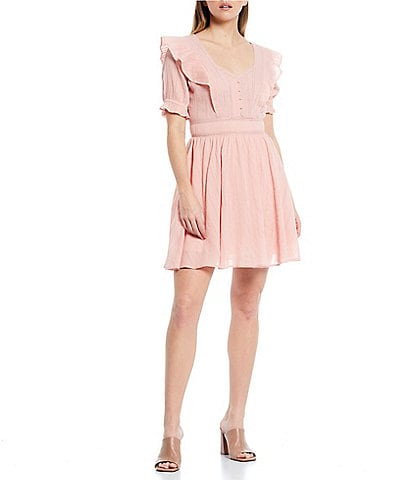 Shabby Chic Lowan Sweetheart Neck Taping Inset Detail Puff Sleeve Lace-Trim Fit and Flare Mini Dress