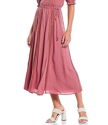 Shabby Chic Mae Lace Panel Tie Detail A-Line Midi Skirt