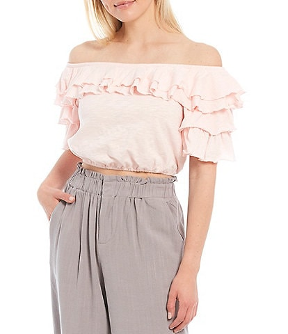 Shabby Chic Myna Ruffle Off-The-Shoulder Neck Short Sleeve Peasant Top