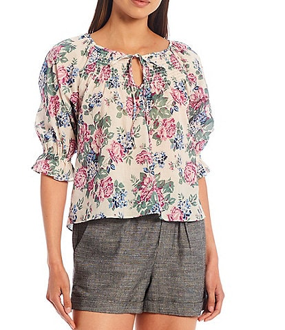 Shabby Chic Primrose Tie Detail Notch Neck 3/4 Sleeves Peasant Top