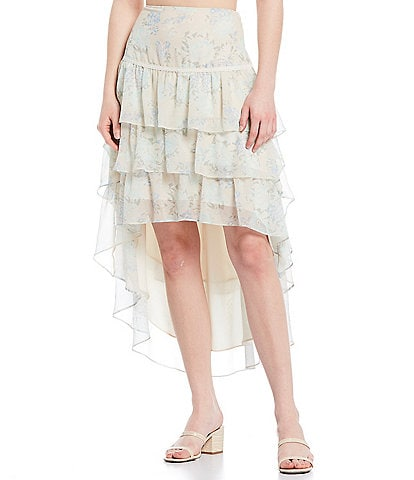 Shabby Chic Quinn Floral Tiered Hi-Low Skirt