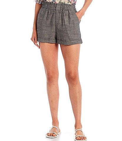 Shabby Chic Romen Marled Paperbag Waist Cuffed Shorts