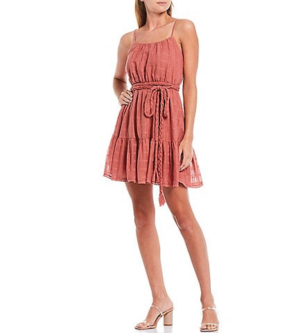 Shabby Chic Sienna Rope Tie Scoop Neck Flounce Hem Textured Dress