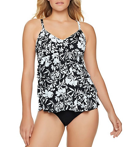 Shape Solver Elemental D-Cup Triple Tier Tankini Swim Top & Solids Bottoms High Waist Center Shirred Tummy Control Swim Bottom