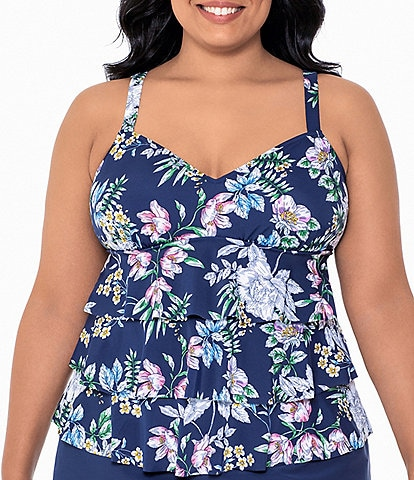 Shape Solver Plus Size Natures Charm Triple Tiered Tankini Swim Top