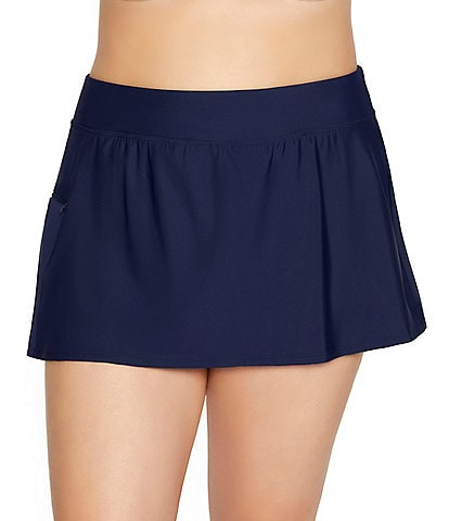 Shape Solver Plus Size Solid Bottoms Tummy Control Swim Skort With Pocket