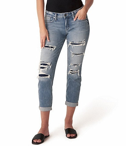 Silver Jeans Co. 27#double; Inseam Destructed Mid Rise Rolled Cuff Boyfriend Jeans