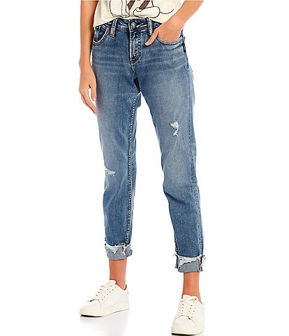 Silver Jeans Co. 27#double; Inseam Destructed Rolled Cuff Boyfriend Jeans