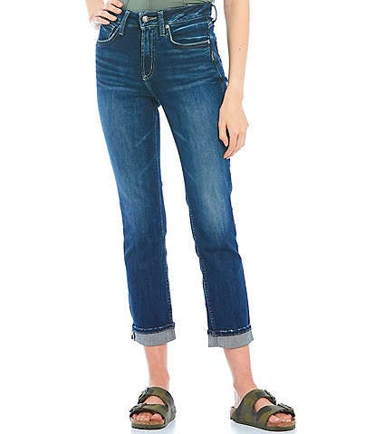 Silver Jeans Co. Avery Cropped Rolled Cuff Straight Jeans