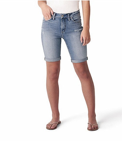 Silver Jeans Co. Avery Destructed Rolled Cuff Bermuda Shorts