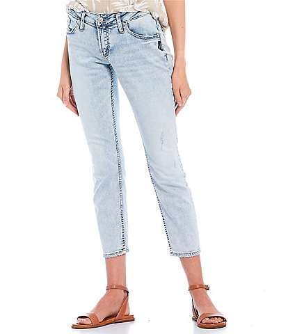 Silver Jeans Co. Light Wash Cropped Boyfriend Jeans