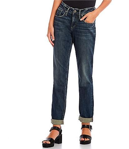 Silver Jeans Co. Boyfriend Mid Rise Dark Wash Rolled Cuff Jeans