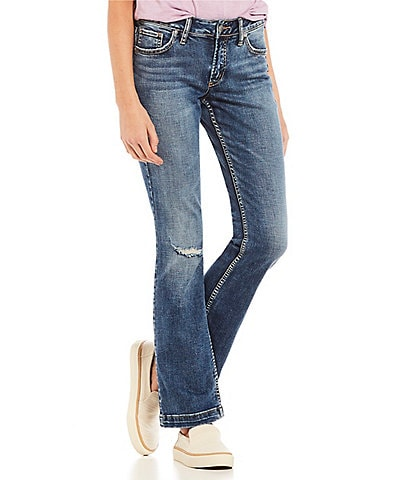 Silver Jeans Co. Elyse Destructed Slim Bootcut Jeans