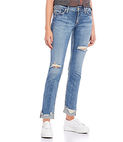 Silver Jeans Co. Elyse Mid Rise Destructed Ankle Slim Rolled Cuff Jeans