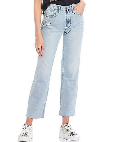 Silver Jeans Co. Frisco High Rise Raw Edge Straight Jeans