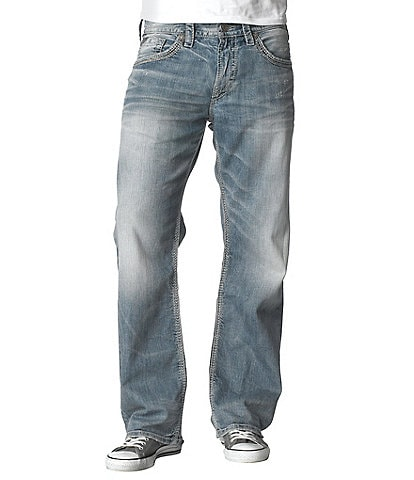 Silver Jeans Co. Gordie Flap-Pocket Loose Straight-Leg Jeans