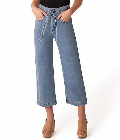 Silver Jeans Co. High Rise Belted Wide Leg Cropped Jeans