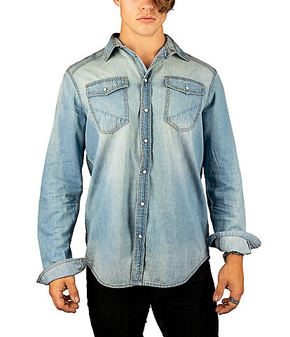 Silver Jeans Co. Long-Sleeve Chambray Western Shirt
