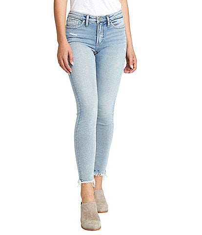 Silver Jeans Co. Most Wanted Frayed Hem Light Wash Skinny Jeans