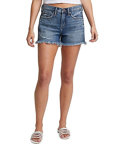 Silver Jeans Co. Not Your Boyfriend's High Rise Frayed Hem Shorts
