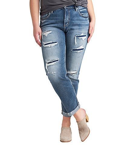 Silver Jeans Co. Plus Size Beau Destructed Detail Slim Leg Raw Hem Girlfriend Jeans
