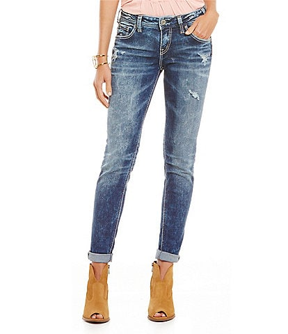 Silver Jeans Co. Slim Fit Mid-Rise Rolled Cuff Girlfriend Jeans