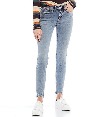 Silver Jeans Co. Suki Frayed Hem Skinny Jeans