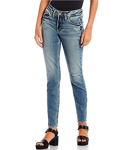 Silver Jeans Co. Suki Mid Rise Raw Hem Skinny Jeans