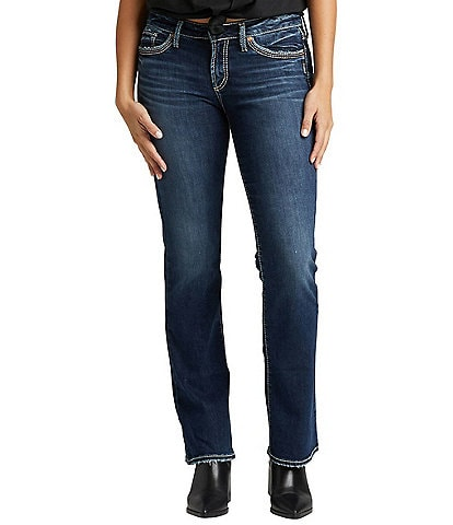Silver Jeans Co. Suki Mid Rise Dark Wash Slim Bootcut Jeans