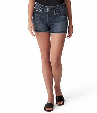 Silver Jeans Co. Suki Mid Rise Two Button Flip Cuff Shorts